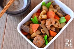 根菜がたっぷり食べられる筑前煮。鶏肉と野菜が温め直しても柔らかくておいしいです。