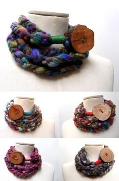 Loop Infinity Scarf Necklace, Crochet Scarflette Neckwarmer - Multicolor yarn with giant wood button - CUSTOM COLOR Scarf Necklace, Fabric Necklace, Fabric Jewelry, Crochet Necklace, Crochet Cord, Diy Crochet, Purple Pink Color, Loop Scarf, Neck Warmer