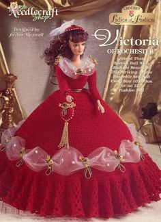 Victoria of Rochester Ball Gown for Barbie Fashion Dolls Crochet HTF PATTERN
