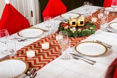 "Rustic Christmas Table Runners - 70"" Burlap Tablecloth (Chevron Design) - $9.99. https://www.bellechic.com/deals/d973002ab479/rustic-christmas-table-runners-70-burlap-tablecloth-chevron-design"