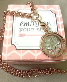 "Rose Gold locket with silver ""h"" monogram screen...elegant and beautiful!"