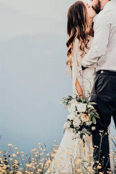 Whistler Elopement // Kristen & Grant via Rocky Mountain Bride // boho wedding style // white wedding bouquet // anemones, ranunculus, roses, veronica, greenery // @celsiafloral J + L Photo @ruedeseinebride