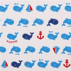 maritime blue whale structured Dobby fabric Cosmo Japan