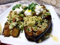 Chermoula aubergine met bulgur en yoghurt, een heerlijk gerecht van Ottolenghi, uit zijn kookboek Jeruzalem.