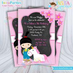 Agnes Invitations fluffy unicorn invitation Birthday Party Despicable me digital printable file 4x6