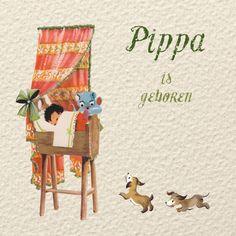 Nostalgisch geboortekaartje Pippa, kan voor zowel een jongetje als voor een meisje