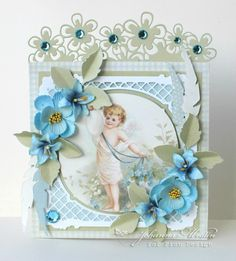 A blue Easter card, the Pion Design Palette and Easter Greetings paper collections