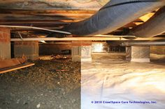 The problems in a house with a crawlspace—mold, wood rot, pests, cold floors, buckling hardwoods—all can be linked back to moisture problems in the crawlspace. The old school of thought of adding more vents to circulate outside air through the crawlspace Crawl Space Insulation, Home Insulation, Home Improvement Projects, Home Projects, Mobile Home Redo, Building A New Home, House Building, Building Plans, Remodeling Mobile Homes