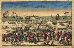 Battle of Salvaterra de Magos (Santarem) near tagus river during Franco-Spanish invasion of Portugal 1762