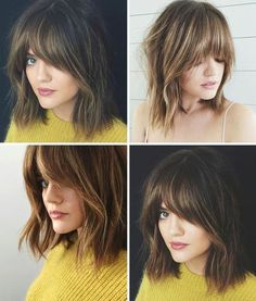 Best Medium Length Hairstyles With Bangs Medium Length Wavy Hair, Shoulder Length Hair, Hairstyles With Bangs, Pretty Hairstyles, Wedding Hairstyles, Lob With Bangs, Beautiful Haircuts, Hairstyles Videos, Bridal Hairstyle