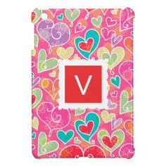Valentine Hearts and Flowers Monogram Case For The iPad Mini - monogram gifts unique design style monogrammed diy cyo customize