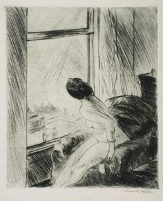 Nude in a Chair   -   Edward Hopper,   American, 1882 - 1967   Drypoint