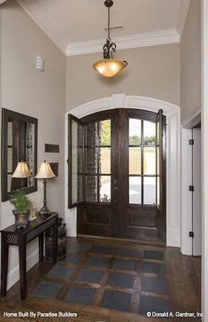 House Plans - The Sandy Creek - Home Plan French door foyer entry! New photos of The Sandy Creek house plan built by Paradise Builders in Inman, SC! Home Design, Design Design, Design Table, Interior Design, Double Front Entry Doors, Double Screen Doors, Arched Front Door, Casa Loft, Wrought Iron Doors