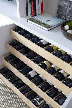 Marvelous Wood Working Organization Ideas Amazing living room features built in shelves and cabinets fitted with pull out wine shelves. Wine Shelves, Built In Shelves, Wine Storage, Kitchen Storage, Glass Shelves, Built In Wine Rack, Room Shelves, Wine Bottle Storage Ideas, Basement Shelving