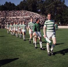 billy McNeill leads out the Glasgow Celtic side for the 1967 European Cup final against Inter Milan in Lisbon