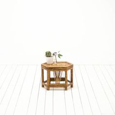 Faux Bamboo Table | Bamboo Stool | Mid-Century Modern Bohemian Side Table | via Birch & Brass Vintage Rentals for Weddings and Special Events | Austin, TX