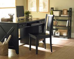 Interior, : Retro Black Desk Design With Black Chair And Combine With Brown Laminate Floor Also Dark Ladder Shelf Combine With Cream Wall Paint Color