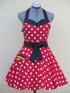 Minnie Mouse Apron Sweetheart Hostess With a by ApronsByVittoria, $36.00  I kind of want this :)