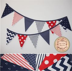 "HANDMADE Fabric Flag Banner/Bunting ""NAUTICAL - RED, WHITE, BLUE"""