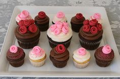 Rose Cupcakes ~ rolled fondant toppers ~ *no recipe, pinning for the deco look | by Glorious Treats | GloriousTreats.com