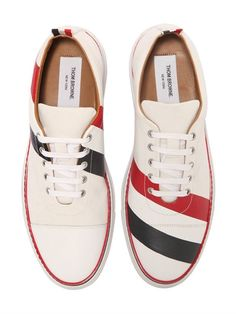 THOM BROWNE - STRIPED COTTON AND LEATHER SNEAKERS - WHITE/MULTI