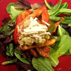 Chicken Fajita Salad, I have an over abundance of breaded tempeh. I just replaced the chicken.