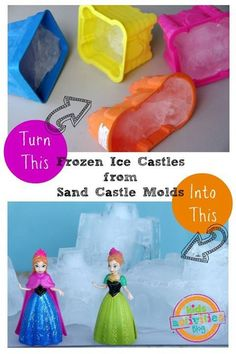 Frozen Ice Castles from Sand Castle Molds - - Disney nailed it with their newest princess movie, Frozen. These Frozen ice castles from sand castle molds are easy to make and will inspire your kids to re-create scenes from what, I'm sure, has become. Frozen Activities, Winter Activities, Princess Activities, Toddler Activities, Learning Activities, Kids Learning, Ice Castles, Castles Ks1, Small World Play