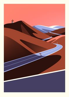 One of a series of beautiful prints by illustrator Malika Favre depicting the landscape and scenery in Fuerteventura. The posters were commissioned by the Canary Islands Tourist Board as part of a campaign promoting tourism in the region