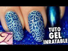 Tuto nail art inratable avec le gel et paillettes - YouTube