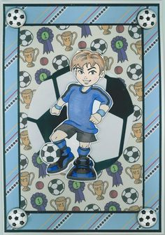 Birthday card 2014: Soccer theme; KennyK digistamp, called Soccer