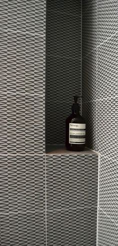 Bathroom // FESTEN architecture // black and white tiles Tile Shower Niche, Shower Bathroom, Shower Shelves, Shower Storage, Design Apartment, Bathroom Toilets, Wet Rooms, Beautiful Bathrooms, My New Room
