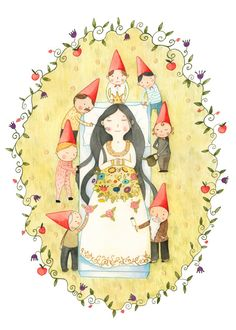 Displate Poster Snow White snow #white #fairytale #brother #grimm #dwarf #girl #child #kids #princess #crown #flowers #frame #sleep #bouquet #green #red