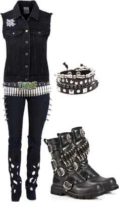 Emo / punk / rock / scene / style / outfit / boots / jewelry/ zombie belt / black