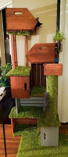 Cats Toys Ideas - Renovation on diy cat tower (Pet Diy Ideas) - Ideal toys for small cats Cool Cats, Diy Cat Tower, Gatos Cool, Ideal Toys, Cat Shelves, Cat Tunnel, Cat Room, Cat Condo, Pet Furniture