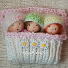 Waldorf dolls - Three Tiny Baby Girls - Waldorf inspired Baby Dolls - FAIRY BABIES