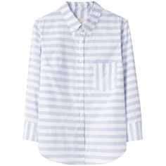 Boy by Band of Outsiders Cropped Sleeve Shirt (2,160 GTQ) ❤ liked on Polyvore featuring tops, blouses, shirts, long sleeves, long sleeve button up shirts, long sleeve button down shirts, button down blouse, long sleeve stripe shirt and striped shirt