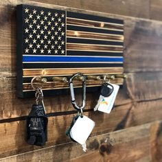 Thin Blue Line Flag Key Holder by CustomCarverWoodWork on Etsy Thin Blue Line Flag, Thin Blue Lines, Blue Flag, Diy Wood Projects, Woodworking Projects, Warrior Rack, Man Cave Room, American Flag Wood, Police Gifts