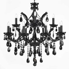 Jet Black Chandelier Crystal Lighting Chandeliers With Black Shades – - All For Decoration Crystal Chandelier Lighting, Globe Chandelier, Linear Chandelier, Black Chandelier, Rustic Chandelier, Chandelier Shades, Chandelier Earrings, Light Shades, Color