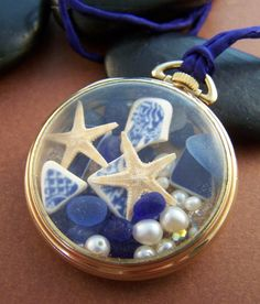 Bounty Sea Glass Locket  Vintage Pocket Watch by StoneStreetStudio, $128.00
