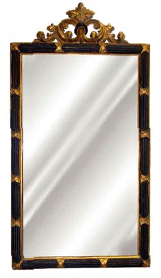 Acanthus Leaf Top Wall Mirror Antique Reproduction, Black & Gold Color Finish