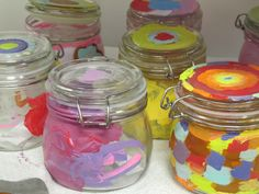 Rosh hashana and sukkot crafts Love the honey jars! Another way to decorate, use magazine pix or tissue paper and glue High Holidays, Holidays With Kids, Preschool Crafts, Crafts For Kids, Jewish Crafts, Jar Art, Rosh Hashanah, Jar Crafts, Room Crafts