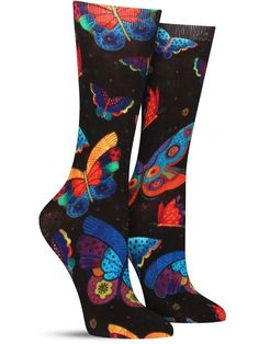 Artist Laurel Burch's bold butterflies come to life in these crazy colorful women's crew socks with gorgeous wings in all shapes and hues. Stockings Outfit, Fishnet Stockings, My Socks, Cool Socks, Awesome Socks, Knee High Socks Outfit, Socks World, Unique Socks, Laurel Burch