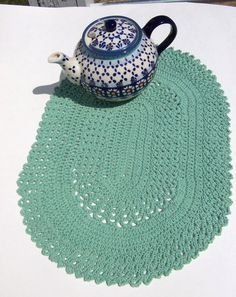 Table Mat Crocheted Sage Green Cotton Primitive by TheCrochetLady1, $10.00