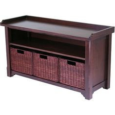 Wood Storage Bench with Baskets - Walmart.com