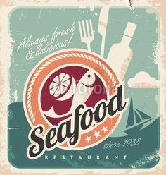 picture for backsplash Vintage poster for seafood restaurant