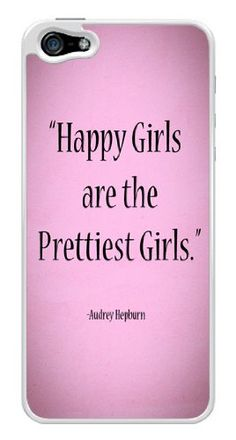 Audrey Hepburn Cute Happiest Girls Prettiest Girls Quote Snap-On Cover Hard Plastic Case for iPhone 5/5S (White). Good Quality Beautiful Case. Design/Finish: Glossy, Printed all around the corners and edges!. It is also a good idea to send it as a gift to your friends. We can provide custom phone cases with any design for you. If you want, please contact us!. Durable and shock absorbing for maximum protection.