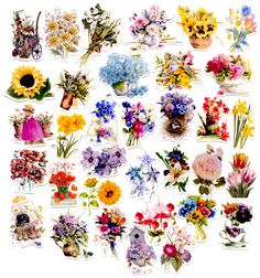 34pcs Self-made Beautiful Flower Scrapbooking Stickers Floral Decorative Sticker DIY Craft Photo Albums Decals Diary Deco