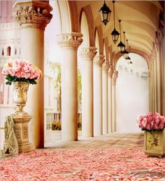 10x10FT Pink Rose Flowers Porch Pillars Custom Photo Studio Background Backdrop