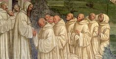 """The image above is a fresco in the Great Cloister at Monte Oliveto Maggiore (Tuscany) entitled """"Benedictine Monks from the Life of St. Benedict"""" painted by L. Signorelli (1441-1523) and G. Sodoma (1477-1549)."""