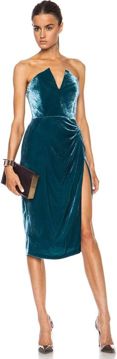 Cushnie et Ochs Velvet Dress in Teal http://www.shopstyle.com/action/apiVisitRetailer?id=459592581&pid=uid2641-265879-39